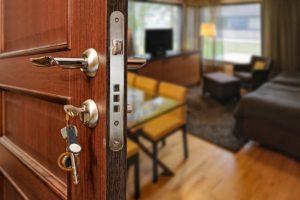 an example of an installed security door
